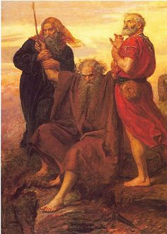 Moses holding up his arm during battle, with Aron and Hur
