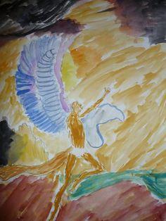 De val van Icarus- 2KB  -aquarel