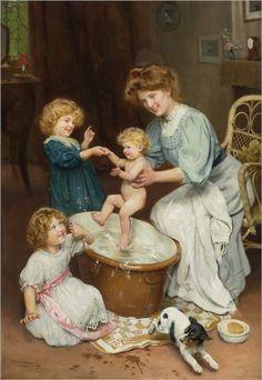 Arthur John Elsley (British,1861-1952) Baby's Bath Time