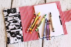 Dog Cat Crayon Wallet. Crayon Roll.  Child Art Kit. Crayon Organizer. Party Favor. Crayon Case. Travel Toy. Kids Art Kit. Coloring Wallet.