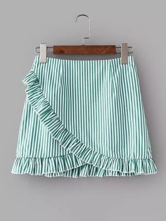 Young Cute and Casual A Line Striped Shift Mid Waist Green Above Knee/Short Length Vertical-Striped Ruffle Trim Overlap Skirt Mode Pastel, Summer Outfits, Cute Outfits, Vertical Stripes, Ruffle Trim, Short Skirts, Dress Skirt, Ruffle Skirt, Fashion Dresses