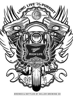 was honored by the epic opportunity to work with Miller High Life, alongside Harley Davidison, on a unique artist series of High Life. Harley Davidson Tattoos, Harley Davidson Motorcycles, Joshua Smith, Arming Sword, Skull Reference, Biker Tattoos, Miller High Life, Automotive Logo, Cars Coloring Pages