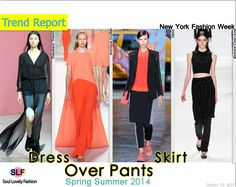 Dress or Skirt Over Pants #Fashion#Trend for Spring Summer 2014 at New York Fashion Week #Spring2014 #Trends #fashiontrends2014 #nyfw2014