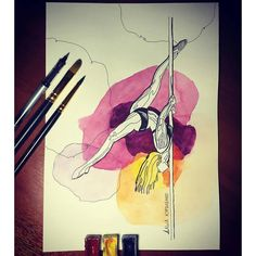 By @a_gorskaya. Tag #inspiring_watercolors for a chance to be featured. #watercolors #watercolor #watercolorpainting #aquarelle #painting #watercolorartist #art #artist #inspiration #beauty #beautiful #sketch #illustration #artwork #watercolour #watercolorsketch #poledance #pole #dance #dancer by inspiring_watercolors