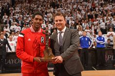 Lou Williams accepts the 6th Man of the Year award prior to Game 2 of the Toronto Raptors Washington Wizards series. #6Man