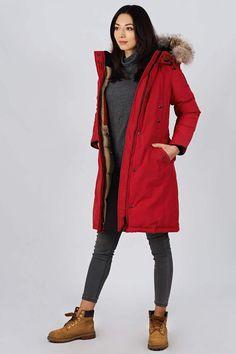 Women's winter down coat, 725 fill power. Arctic Bay - Made in Canada. Winter Jackets Women, Down Coat, Fur Trim, Arctic, Rib Knit, Parka, Gray Color, Charlotte, Fashion