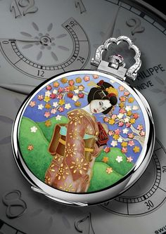 The reverse of Patek Philippe's Geisha Under a Cherry Tree – Mixed Techniques Pocket Watch reference 982/140G in white gold, decorated with a beautiful Geisha in cloisonné and miniature enamel and hand engraving.