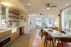 Small (1,400sf), affordable, sustainable home. Includes plywood flooring in the bedrooms. http://www.insitustudio.us/chasen-residence/