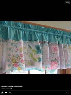 French Country Timeless Teal Tapestry Handkerchief by jgchic Shower Curtain With Valance, Valance Curtains, Valances, Cream Curtains, Teal Tapestry, Cortinas Shabby Chic, Handkerchief Crafts, Vintage Sheets, Vintage Linen