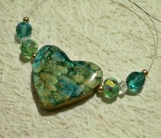 Polymer Clay heart focal bead  by Sweet2Spicy on #Zibbet