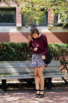 Love 21 Lace Raglan Sweatshirt + Fluted Tweed Skirt | www.lakeshorelady.com