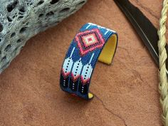 Native American Beaded Feather Blue Diamond Bracelet