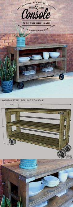 Wood Profits How to build a DIY Restoration Hardware-inspired wood and steel console via Jen Woodhouse - How to build a DIY Restoration Hardware wood and steel console using Simpson Strong-Tie connectors. Free plans and tutorial by Jen Woodhouse. Diy Outdoor Furniture, Pallet Furniture, Furniture Plans, Garden Furniture, Kitchen Furniture, Diy Wood Furniture Projects, Industrial Furniture, Rustic Furniture, Furniture Makeover