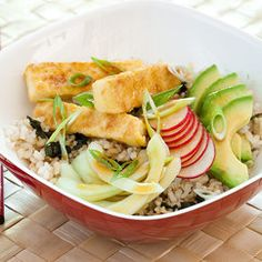 Brown Rice Bowl with Tofu and Vegetables #MeatlessMonday