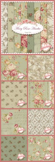 Mary Rose Amelia by Quilt Gate Fabrics: Sage background accented with antique roses. Fat Quarter Sets and yardage available at http://www.shabbyfabrics.com/Mary-Rose-Amelia-C1258.aspx.