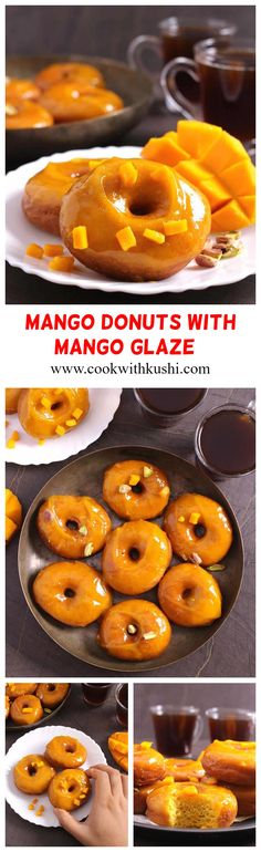Mango Doughnuts (Donuts) with Mango Glaze are soft, moist, and fluffy donuts bursting with full of mango flavors which are then covered in an aromatic mango glaze. A double treat for all mango lovers!!! Vegan Indian Recipes, Donut Recipes, Healthy Dessert Recipes, Vegan Recipes Easy, Vegan Desserts, Brunch Recipes, Easy Desserts, Delicious Desserts, Breakfast Recipes