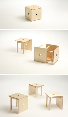 simple cube gives 3 chairs. Made from birch plywood and maple, this provides a genius solution to storage