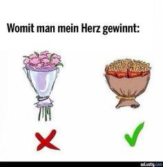 Womit man mein Herz gewinnt - #blumenstrauß #fritten #gewinnen #herz #pommes