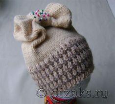Вязаная шапка с бантом спицами для начинающих Crochet Baby Hats, Baby Knitting, Knitted Hats, Knit Crochet, Dress Sewing Patterns, Knitting Patterns, Crochet Patterns, Crochet Basics, Little Princess