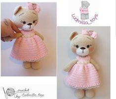 amigurumi-pembe-elbiseli-pofuduk-ayicik-yapimi Crochet Bunny, Cute Crochet, Crochet Dolls, Easy Crochet Patterns, Baby Knitting Patterns, Amigurumi Patterns, Crochet Doll Tutorial, Teapot Cover, Yarn Shop