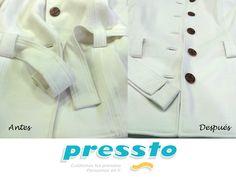 Este abrigo blanco volvió a ser blanco! Los profesionales de Tintorerías Pressto eliminaron todas las manchas!