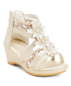 Love this Beige Flower Wedge Gladiator Sandal by Ameta on #zulily! #zulilyfinds