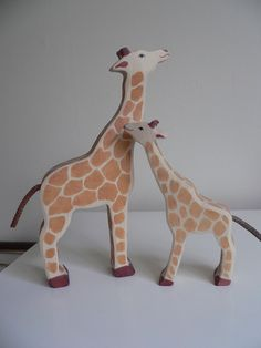 Wooden giraffes from Holztiger in Germany for toddlers at Playgroup.