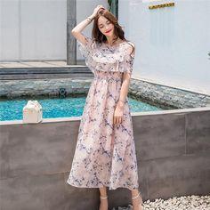 Women Summer Fashion Printed Floral Chiffon Dress O-neck Short Sleeve – Ozzy Bella All Great Apparel