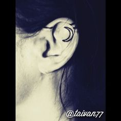 A moon and matching stripes. | 31 Ideas For A Delicate Inner-Ear Tattoo