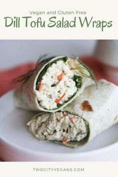 Dill Tofu Salad Wraps - Two City Vegans - An easy vegan lunch idea that is ready to eat in 15 minutes! Easy Vegan Lunch, Vegan Lunches, Vegan Meal Prep, Vegan Snacks, Vegan Vegetarian, Tofu Meals, Vegan Meals, Vegetarian Recipes, Vegan Breakfast Recipes
