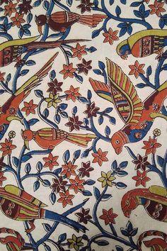 Kalamkari Block Printed Cotton Cut Fabric Kalamkari Designs, Kalamkari Painting, Silk Fabric, Printed Cotton, Prints, Pattern, Inspiration, Image, Sarees