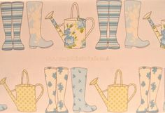 Thornbury Collection – Elsie - Wellies and Watering Cans – Spring – Ashley Wilde Watering Cans, House Ideas, Canning, Spring, Fabric, Inspiration, Collection, Tejido, Biblical Inspiration