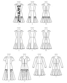 v9078 Lined dress has princess seams, close-fitting bodice, raised waist and back zipper. A: overlay. A, B and C: ruffle. D, E and F: flounces and narrow hem. F: stitched hem on sleeves