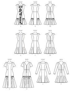 v9078 Lined dress has princess seams, close-fitting bodice, raised waist and back zipper. A: overlay. A, B and C: ruffle. D, E and F: flounces and narrow hem. F: stitched hem on sleeves