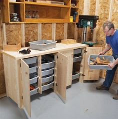 Big Capacity Storage Cabinet Restaurant storage tubs organize shop supplies for stow and go. By Dave Olson When I worked in a restaurant as a teenager, I hauled dirty dishes in plastic bus boxes. Using them to organize my shop is much more pleasant. Bus boxes are light in weight and strong enough to hold all kinds of shop essentials, including most of my portable power tools. This 6-ft.-long cabinet …