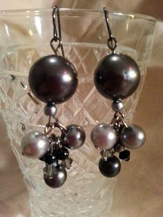 Handmade Black and Grey Pearl bead and Swarovski by NamasJewels, $20.00