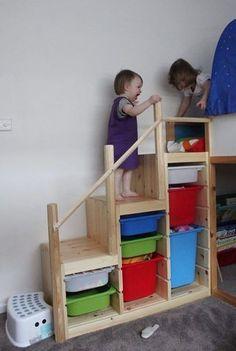 Beyond Toy Storage: 20 Ways to Hack, Tweak, Repurpose & Reimagine IKEA& Tro. Beyond Toy Storage: 20 Ways to Hack, Tweak, Repurpose & Reimagine IKEA& Trofast Kura Ikea, Ikea Trofast Storage, Bed Ikea, Trofast Hack, Kura Hack, Ikea Loft Bed Hack, Bunk Bed Steps, Bunk Beds With Stairs, Kids Bunk Beds
