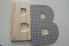 DIY: Mod Podge wooden letters for Jaxons wall! We bought some stuff to do this yesterday!