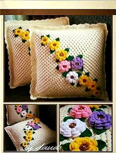 How to Crochet a Solid Granny Square - Crochet IdeasThis Pin was discovered by Hwi Crochet Pillow Cases, Crochet Cushion Cover, Crochet Cushions, Crochet Bedspread Pattern, Crochet Blanket Patterns, Baby Blanket Crochet, Pillow Crafts, Diy Pillows, Diy Crafts Crochet