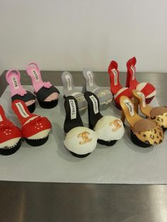 Custom made designer shoe cupcakes. Kick Ass Kakes, Phoenix, Arizona. http://kickasskakes.com/