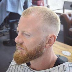 short blonde haircut with beard