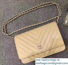 Chanel Chevron Wallet On Chain WOC Bag Beige/Sliver