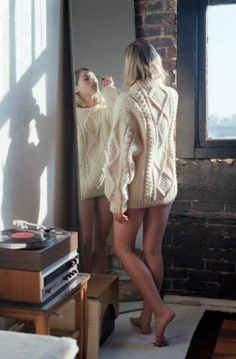 photo: Charise Marie. Soft woolen Cream Aran Knitted Sweater (one size)