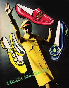 'Color Slickers' shoe advertisement | Seventeen magazine, March 1968 #photography