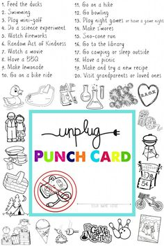 unplugged punch card for summer vacation
