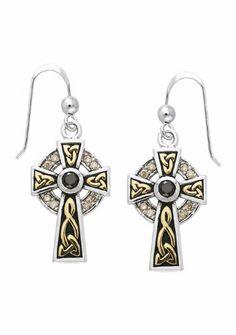 f50508908 Celtic Cross Sterling Silver & Gold Earrings Peter Stone Jewelry. $212.97 Cross  Earrings, Gold