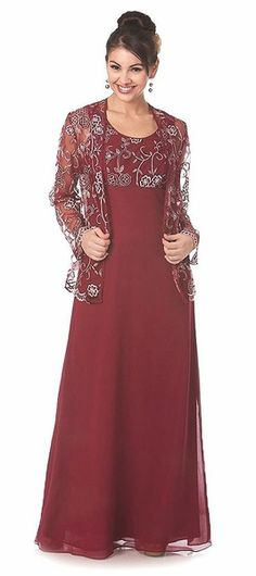 Burgundy Mother of the Bride Dress Long Sleeve Lace Jacket $49.99