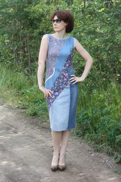 """"""""""" Sewing Diy Clothes Upcycling Old Jeans Ideas """""""" Costura Bricolaje Ropa Upcycling Old Jeans Ideas """""""" Sewing Jeans, Sewing Clothes, Diy Clothes, Clothes For Women, Sewing Diy, Clothes Refashion, Dress Sewing, Denim Patchwork, Patchwork Dress"""
