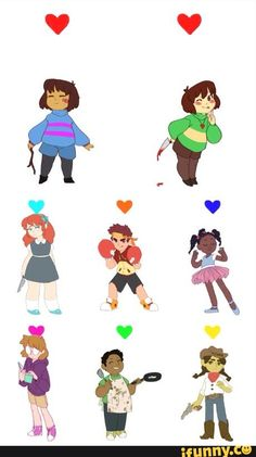 Undertale An interpretation of the 7 fallen humans before Frisk/Chara.