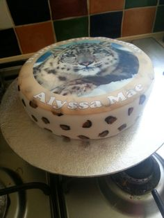 Leopard print inside and out cake